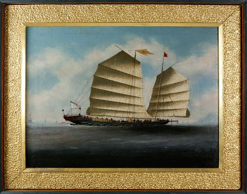 """Chinese Export Oil on Canvas """"Portrait of a Junk Boat"""", circa 1850"""