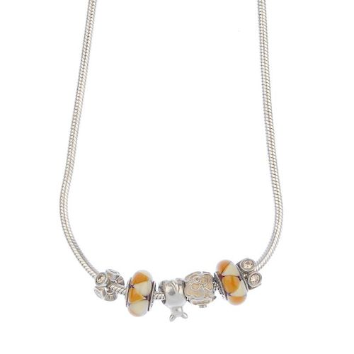 PANDORA - a charm necklace. With six charms to include two glass charms, two clear paste charms and