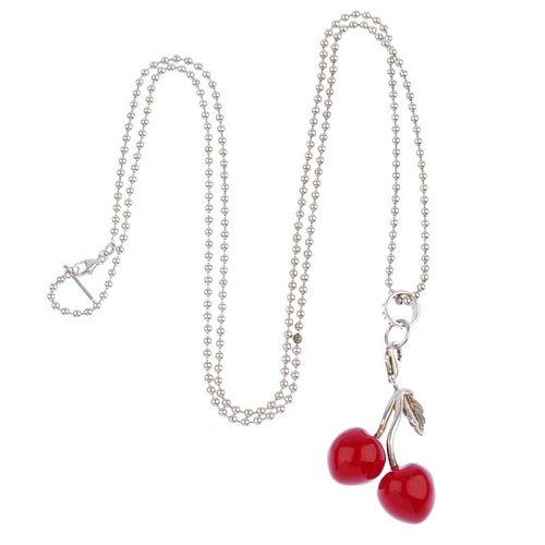 THOMAS SABO - a necklace. The ball-chain suspending a cherry charm with two red enamel cherries and