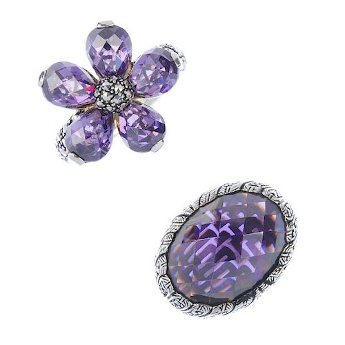 THOMAS SABO - four items of jewellery. To include a floral ring with purple faceted synthetic zircon