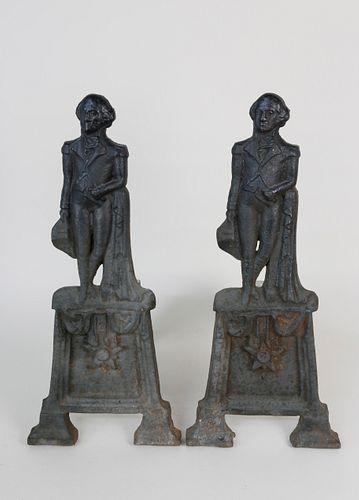 Pair of Cast Iron George Washington Andirons, 19th Century