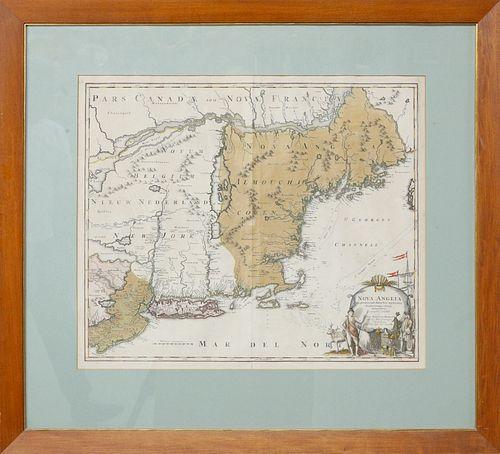 Johann Baptist Homann Map of New England, ca. 1710
