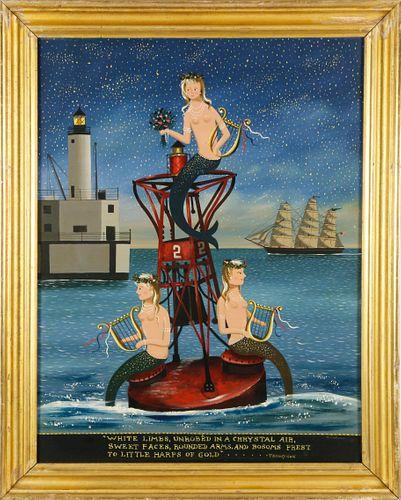 "Ralph Eugene Cahoon Jr. Oil on Masonite ""The Sea Fairies"""