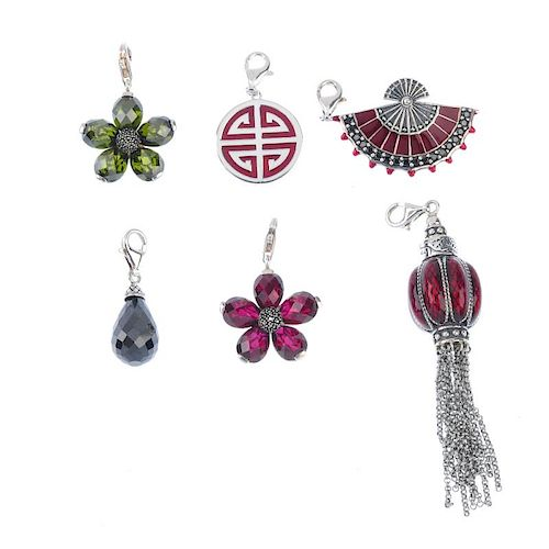 THOMAS SABO - six charms. To include a red enamelled lantern with tassel detail, a black synthetic z