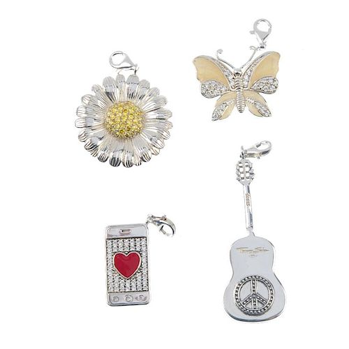 THOMAS SABO - four charms. To include a guitar locket charm, a butterfly charm with yellow enamel an
