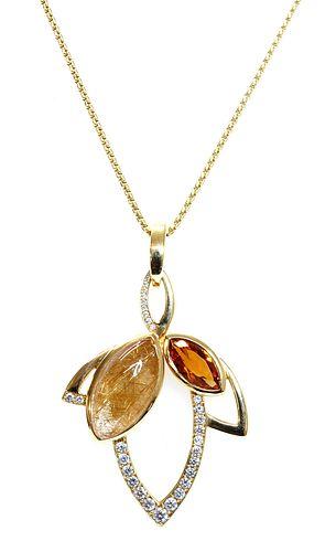 An 18ct gold rutilated quartz, citrine and diamond pendant, by Hamilton & Inches, c.2015,