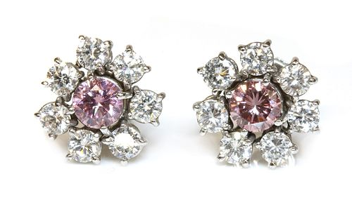 A pair of fancy pink diamond and diamond cluster earrings,