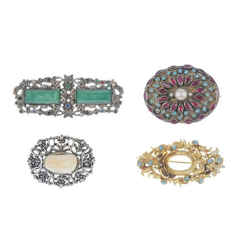 A selection of five items of costume jewellery. To include a late 19th century multi-gem brooch, a s