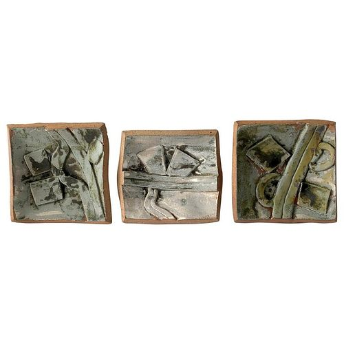 1986 California Studio Abstract Stoneware Pottery Wall Tryptic