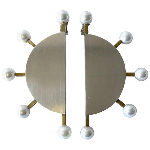 Heidi Abrahamson Sterling Silver Brass Shell Pearl Post Modernist Super Earrings