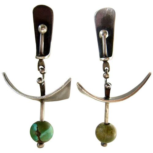 1950s Ed Wiener Turquoise Sterling Silver Abstract Modernist Earrings