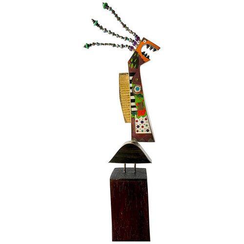 Tod Pardon Sterling Silver 14 Karat Enamel Sculpture Brooch on Padouk Wood Base