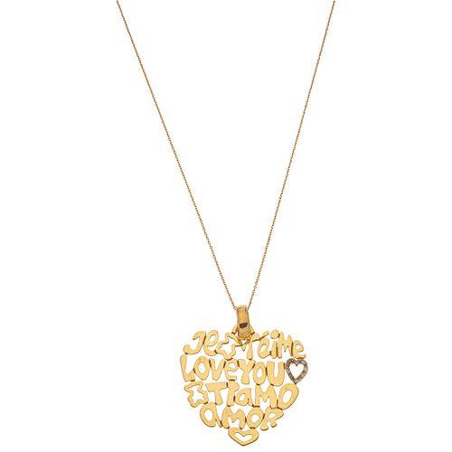 CHOKER AND PENDANT WITH DIAMONDS IN 18K YELLOW GOLD, TOUS Brilliant cut diamonds ~0.02 ct