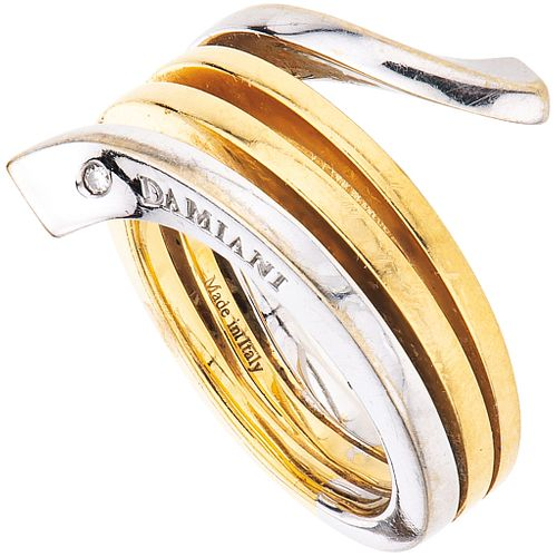 RING WITH DIAMONDS IN 18K YELLOW AND WHITE GOLD, DAMIANI EDEN COLLECTION Brilliant cut diamond. Size: 6 ¼