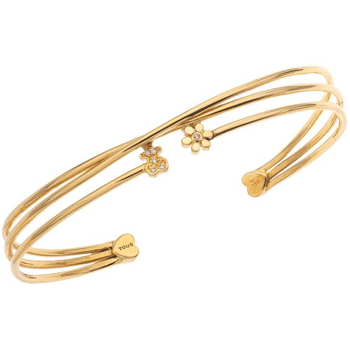BRACELET WITH DIAMONDS IN 18K YELLOW GOLD, TOUS Brilliant cut diamonds ~0.03 ct.  Weight: 7.9 g