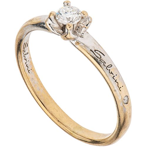 SOLITAIRE RING WITH DIAMONDS IN 18K WHITE GOLD, SALVINI 1 Brilliant cut diamond ~0.11 ct Clarity: VS2