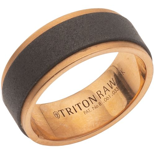 RING IN TUNGSTEN AND 18K PINK GOLD, TRITON Weight: 11.0 g. Size: 8 ½