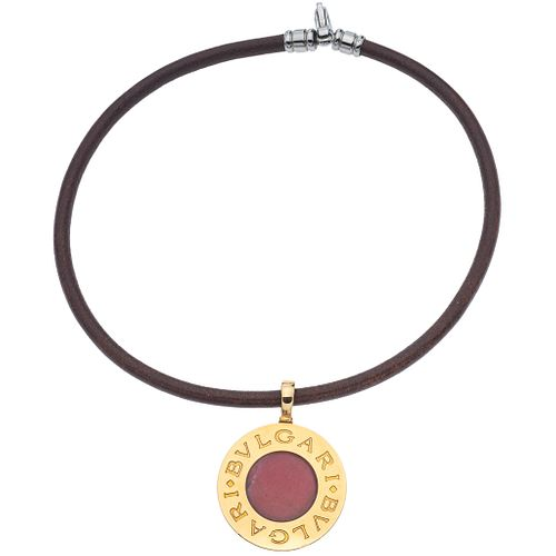 LEATHER CHOKER WITH PENDANT IN STEEL, 18K YELLOW GOLD, METAL CLASP, BVLGARI