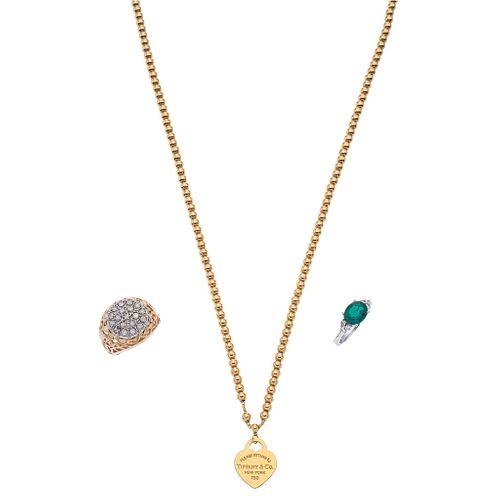 CHOKER IN 18K YELLO GOLD, TIFFANY & CO. & TWO RINGS WITH DIAMONDS AND SIMULANT IN 10K YELLOW GOLD AND PLATINUM