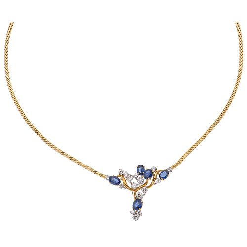 CHOKER WITH SAPPHIRES AND DIAMONDS IN 18K YELLOW GOLD Oval cut sapphires ~2.0 ct, Brilliant cut diamonds ~0.95 ct