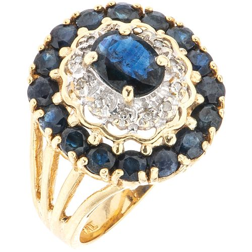 RING WITH SAPPHIRES AND DIAMONDS IN 14K YELLOW GOLD Oval and round cut sapphires~1.80 ct, 8x8 cut diamonds~0.05 ct. Weight:6.9g