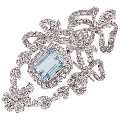 PENDANT / BROOCH WITH AQUAMARINE AND DIAMONDS IN 18K WHITE GOLD 1 Octagonal cut aquamarine, brilliant cut diamonds