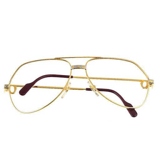 CARTIER - a pair of Santos de Cartier aviator glasses frames. Featuring gold plated thin metal frame