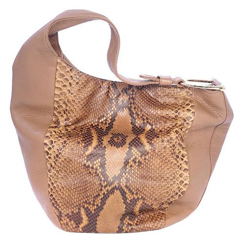 <p>GUCCI - a Python Leather Greenwich Hobo Bag. Designed with soft grained taupe leather and python