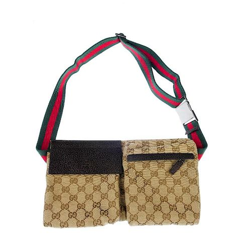 GUCCI - a Monogram Web belt bag. With maker's classic GG monogram canvas exterior, designed with two