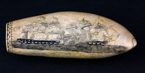 Large Scrimshaw Sperm Whale Tooth Attributed to the Britannia Engraver, 1st quarter of the 19th Century