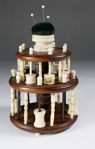 Nantucket Made Sewing Thread Spool Caddy, circa 1850
