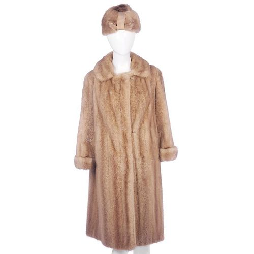 A full-length dawn pastel mink coat and hat. The coat designed with a notched lapel collar, hook and