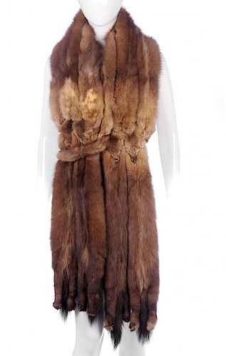 A Russian sable stole. Made up of ten sable skins with tail and paw detail at either end and double