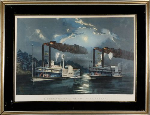 """Currier & Ives """"A Midnight Race on the Mississippi"""", circa 1860"""