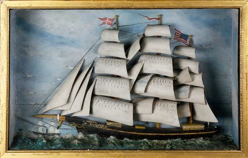 American Folk Art Ship Shadowbox Diorama, 19th Century