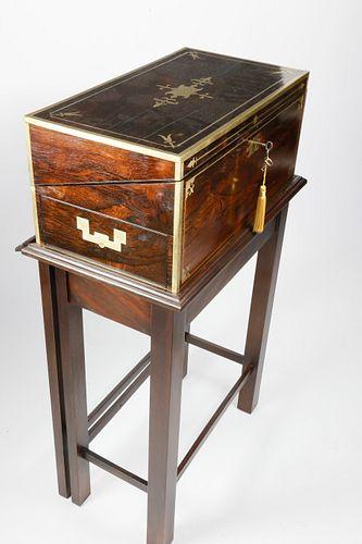 Regency Gentleman's Rosewood Writing Box on Custom Stand, circa 1830