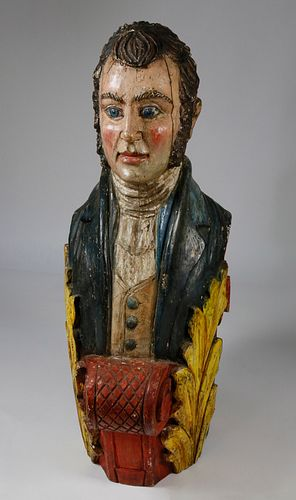 Vintage Ship's Figurehead Style Carving of a 19thCentury Gentleman