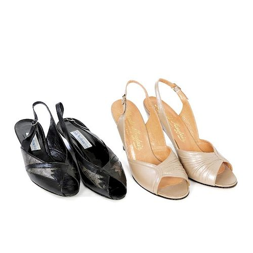 Eight pairs of vintage shoes. To include a pair of silver snake skin patterned leather court shoes b