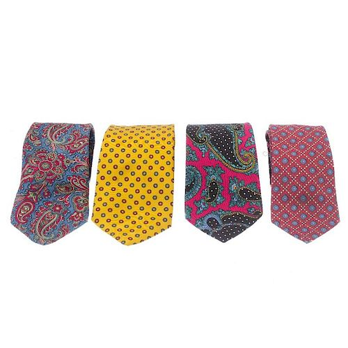 A selection of silk ties and handkerchiefs. To include a red and blue patterned Hermes tie, a Salvat