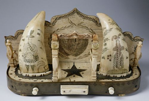Antique Whalebone, Baleen and Scrimshaw Whale Teeth Watch Hutch, circa 1840