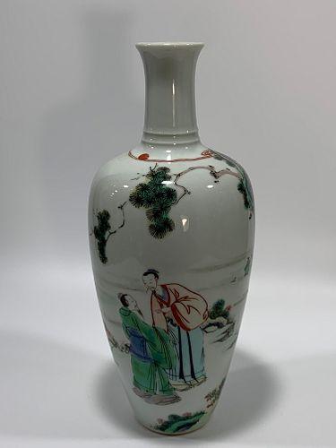 Qing Dynasty Kangxi Period Made Mark, Five Color Figure Pattern Porcelain Vase