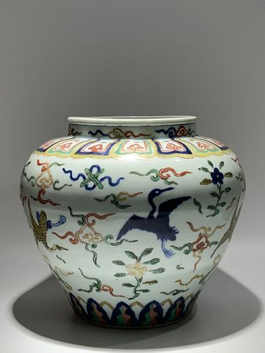 Ming Dynasty Jiajing Period, Five Color Crane and Cloud Pattern Porcelain Jar