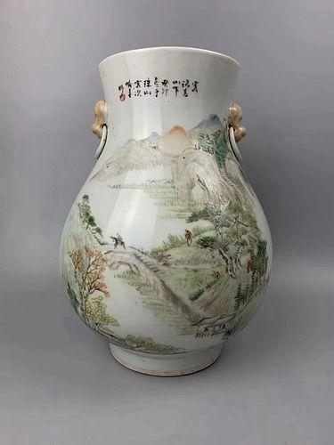 Qing Dynasty Yu Chunzuo Mark, Famille Rose Glaze Flowers and Birds Painting Porcelain Vase