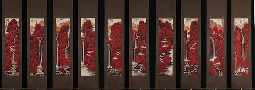 """Li Keran Inscription, """"Red Over the Mountains as if the Forests Are Dyed"""" Ten Scroll Paintings"""