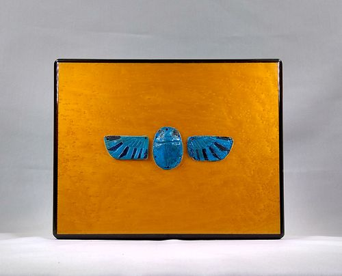 Ancient Egyptian blue Faience winged scarab Ex Royal Athena