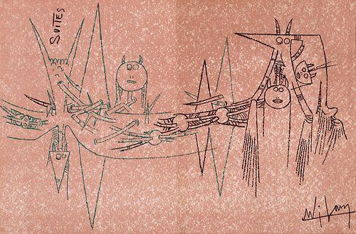 Wilfredo Lam. Suites Nr. 3, April 1963. Mit Original-Farblithographien. Genf, Galerie Krugier & Cie, 1963. 4°. 4 lose Doppelbögen in lithographierte