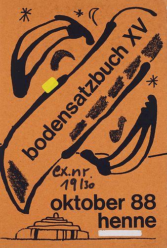 Henne, Wolfgang Bodensatzbuch XV. Mit OGraphiken, handschriftlichem Text, Geschenkpapier. Leipzig, 1988. 21 Bll. 8°. Illustr. OBroschur.