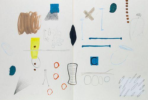 Genet, Jean Jean Genet. Selected text from Miracle of the Rose. Künstlerbuch mit farbigen, teils aquarellierten Zeichnungen, Collagen und handgeschrie