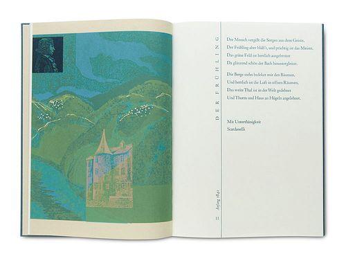 Scardanelli (d.i. F. Hölderlin) Die vier Jahreszeiten. Mit 4 (dppblgr.) farbigen Graphiken von R. Quadflieg. Hamburg, 1996. 55 S., 1 Bl. 4°. Handgebd.