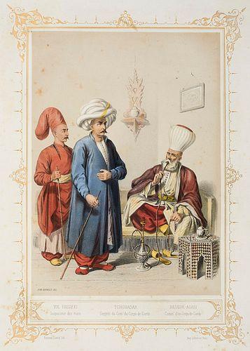 Brindesi, Jean Elbicei Atika. Musée des anciens costumes Turcs de Constantinople. Mit farblithogr. Titel u. 22 chromolithographischen Kostümtafeln von